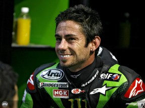 John Hopkins in the Kawasaki Racing garage