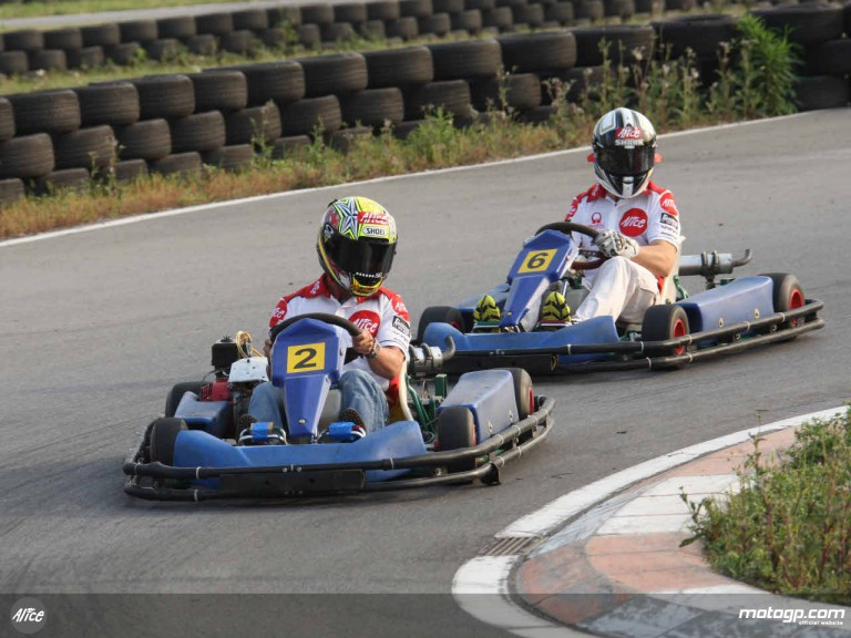 Alice team riders enjoying kart race