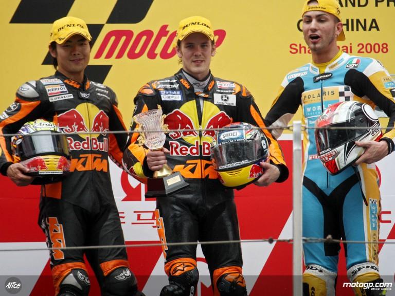 Kallio, Aoyama and Pasini on the podium at Shanghai (250cc)