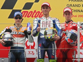Rossi, Pedrosa and Stoner on the podium at Shanghai (MotoGP)
