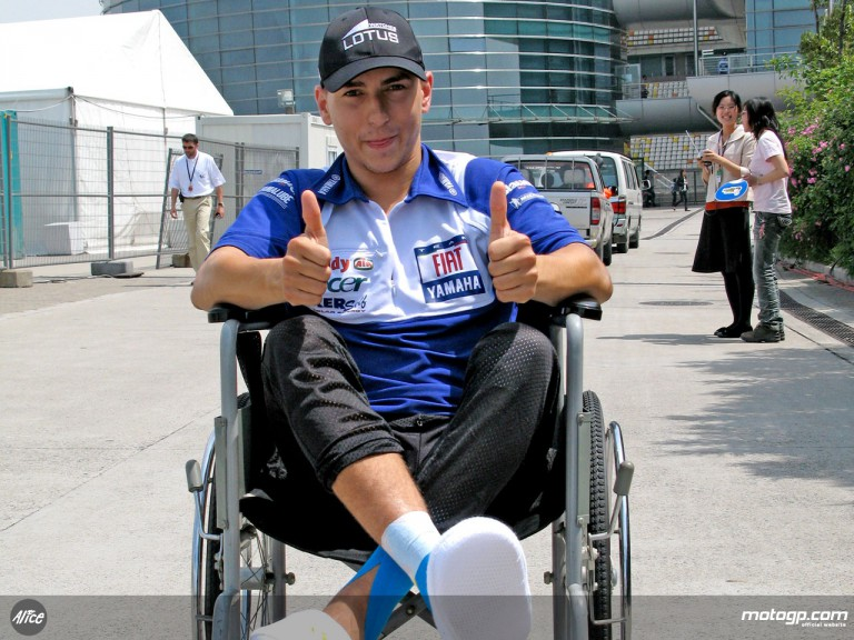 Wheelchair-bound Jorge Lorenzo in Shanghai