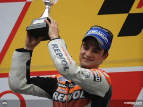 Dani Pedrosa on the podium at Shanghai