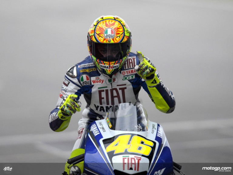 Valentino Rossi celebrates his first win of the season in Shanghai