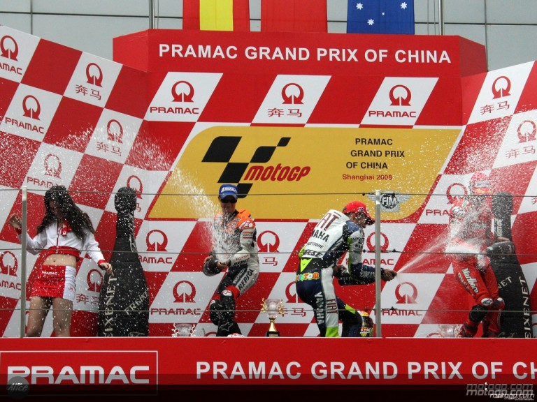 Rossi, Pedrosa and Stoner onthe podium at Shanghai (MotoGP)