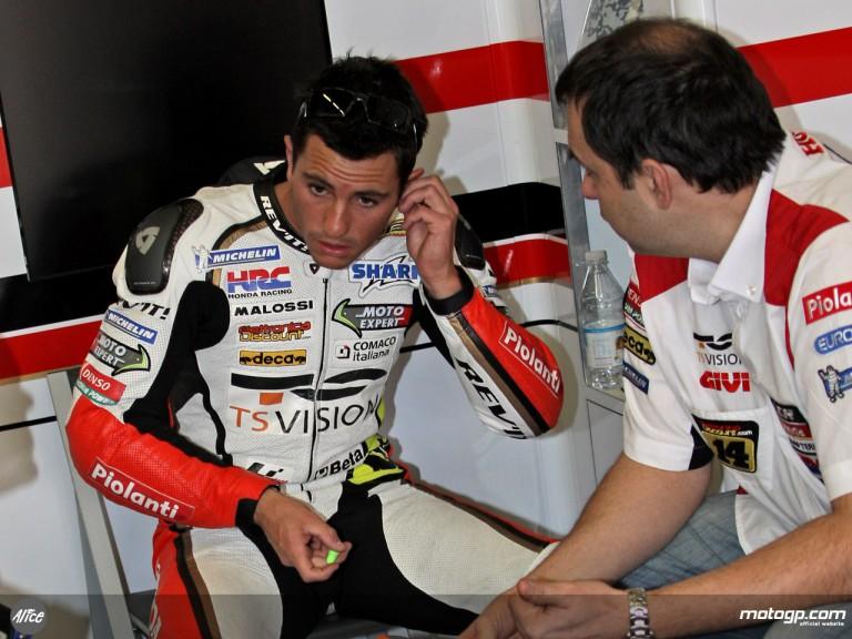 Randy De Puniet in the LCR Honda garage