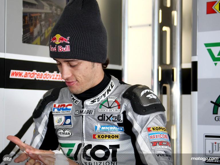 Andrea Dovizioso in the Jir Scot garage