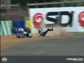 Jorge Lorenzo crashes in the second free practice session at le Mans
