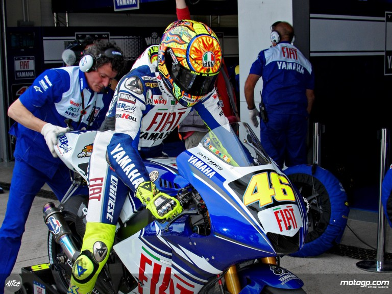 Valentino Rossi leaving Fiat Yamaha garage