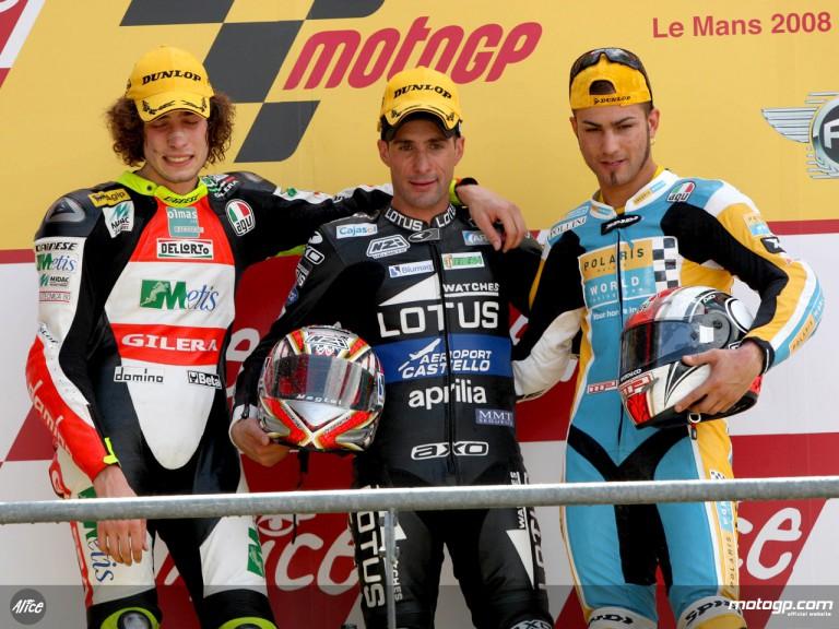 Debon, Simoncelli and Pasini on the podium at Le Mans (250cc)