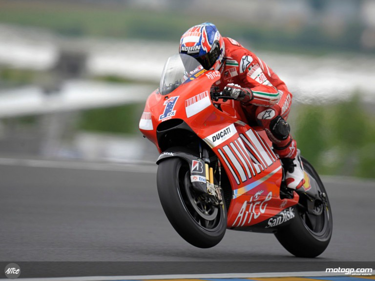 World Champion Casey Stoner on track at le Mans