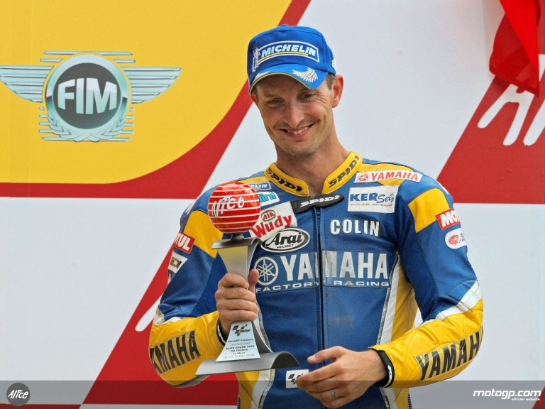 Colin Edwards celebrates French podium