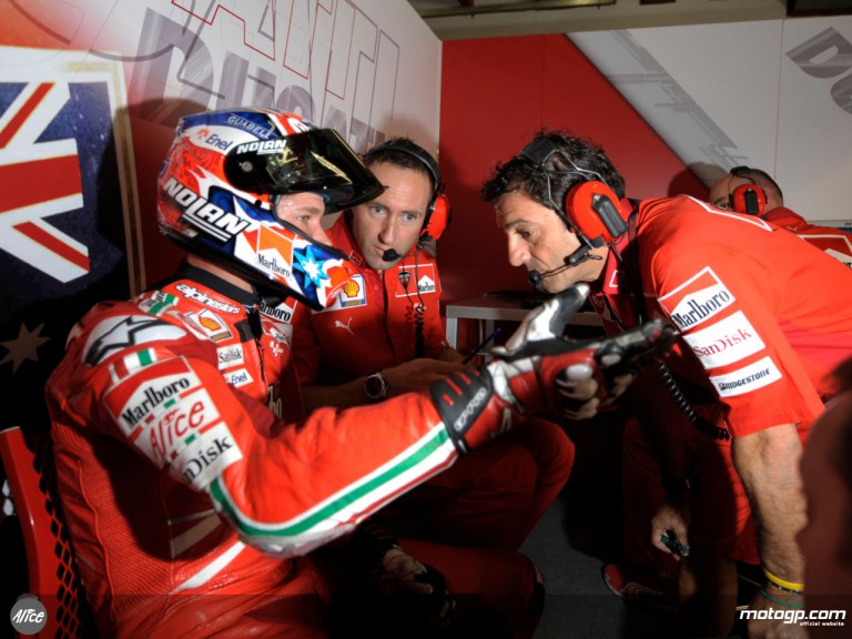 Casey Stoner and his technical crew