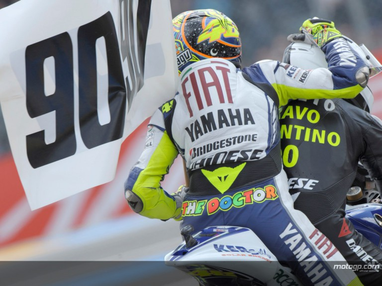 Valentino Rossi celebrates his 90th GP win at le Mans with Angel Nieto