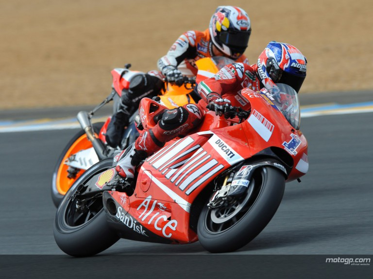 Casey Stoner ahead of Dani Pedrosa at the French Grand Prix
