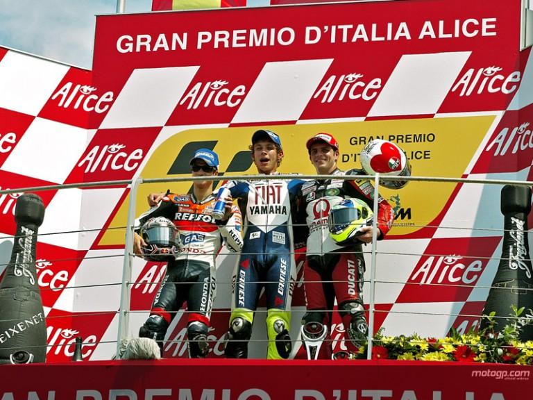 Valentino Rossi tops the podium at Mugello in 2007 Italian GP