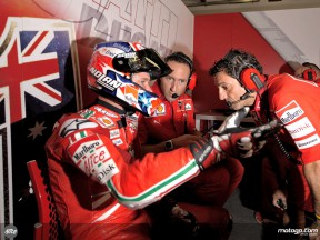 Casey Stoner in the Ducati Marlboro garage
