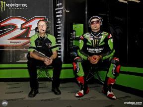John Hopkins in the Kawasaki Racing garage