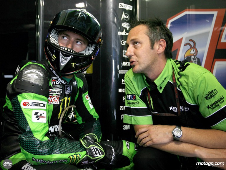 Anthony West in the Kawasaki Racing Team garage