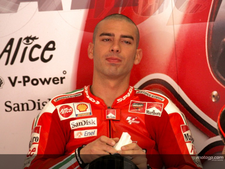 Marco Melandri in the Ducati Marlboro Team garage