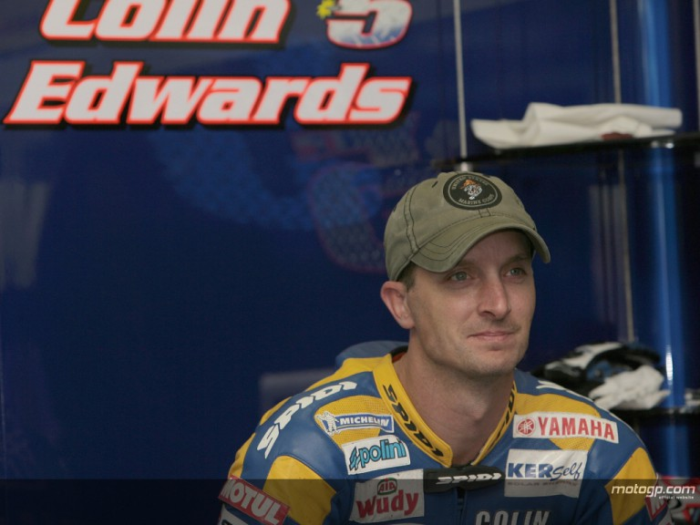 Colin Edwards in the Tech3 Yamaha garage
