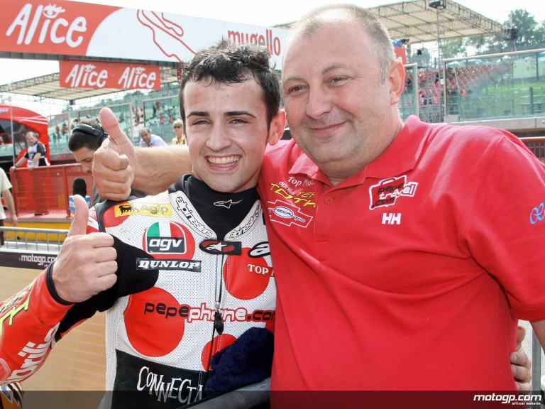 Hector Barberá on pole at Mugello with Team Manager Toth