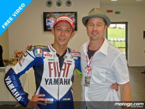 Hollywood star Brad Pitt congratulates Valentino Rossi after the Doctor seventh win at Mugello