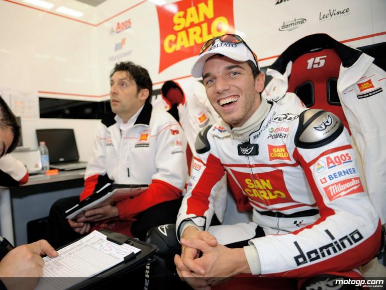 Alex de Angelis in the San Carlo Hona Gresini garage