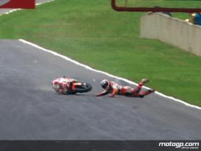Hector Barbera crash during race in Mugello