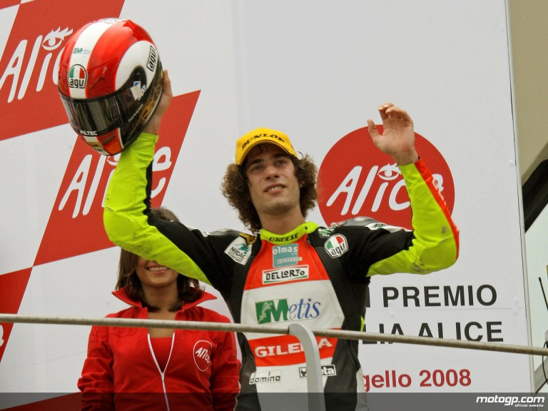 Marco Simoncelli on the podium at Mugello