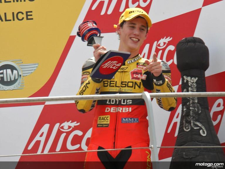 Pol Espargaró on the podium at Mugello (125cc)