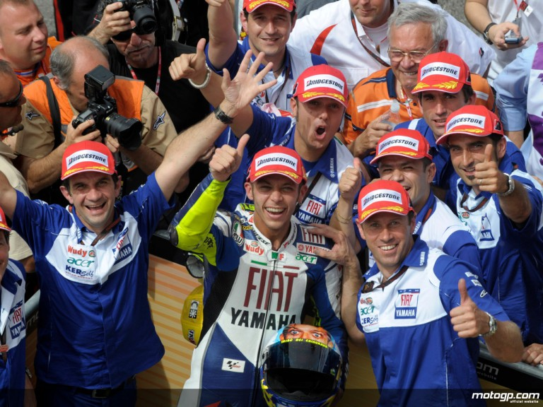 Valentino Rossi celebrating victory at Mugello