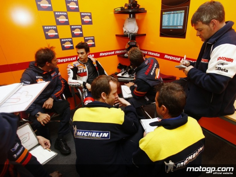 Dani Pedrosa with his Repsol Honda crew and Michelin staff