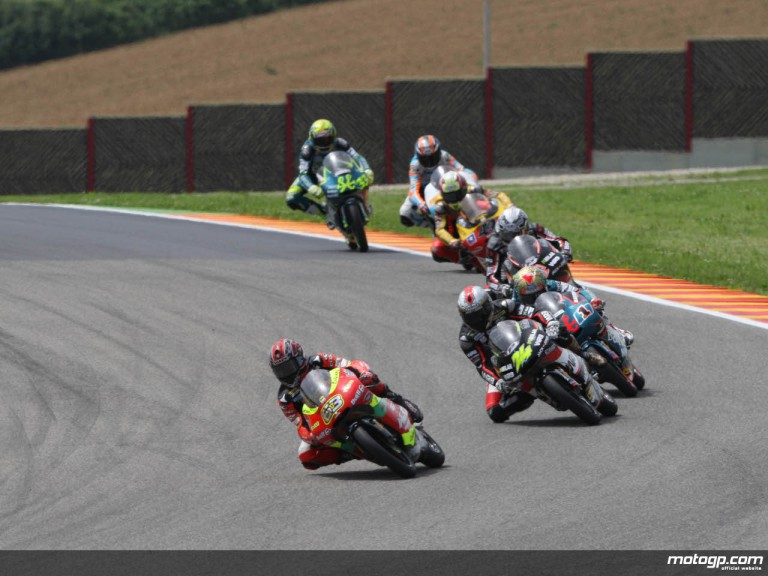 Mike di Meglio leading the 125cc pack at Mugello