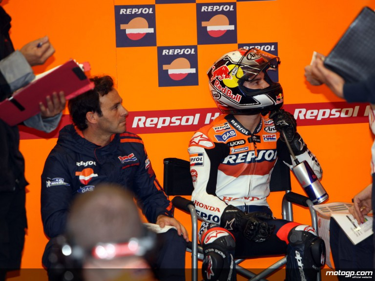 Dani Pedrosa and Alberto Puig in the Repsol Honda box