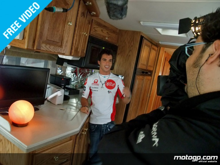 Toni Elias shows us around his motorhome at the Catalunya circuit