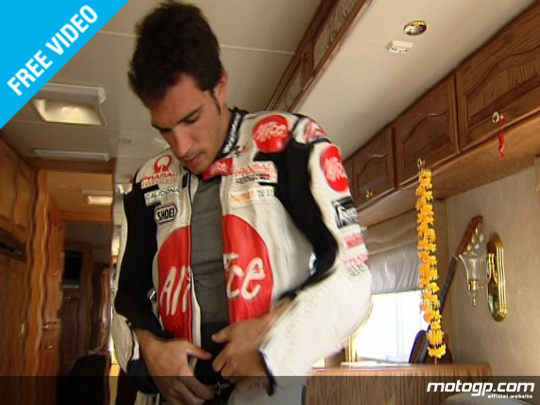 Toni Elias getting all geared up ahead of FP1 at Catalunya