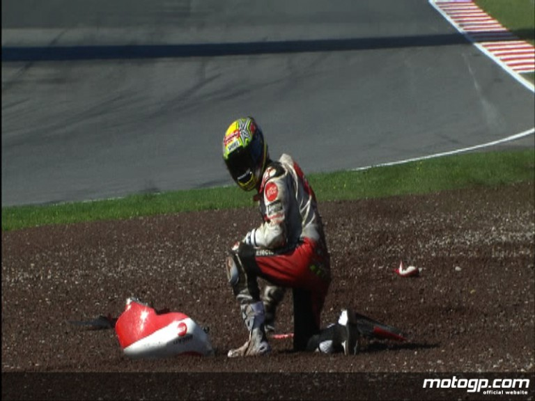 Toni Elias crashes in the first practice session at Catalunya