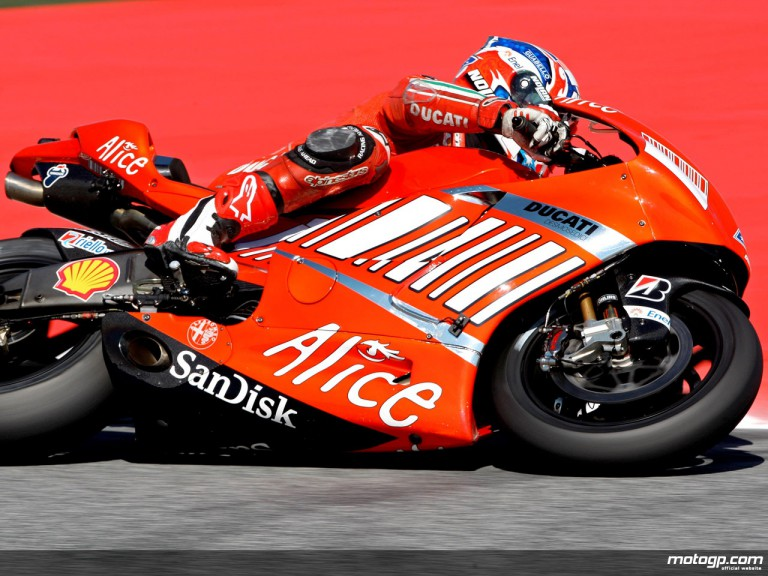 Casey Stoner in action in Catalunya