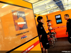 The Repsol Honda Team garage