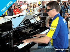 James Toseland talks after his live performance in the paddock at Catalunya