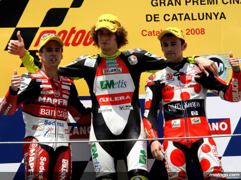 Simoncelli, Bautista and Barberá on the podium at Catalunya (250cc)