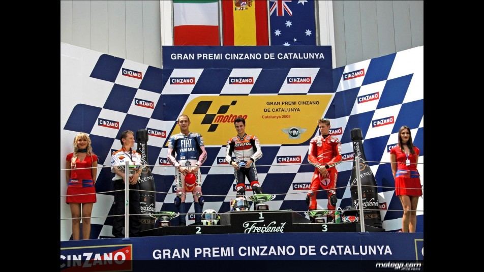Pedrosa, Rossi and Stoner on the podium at Catalunya