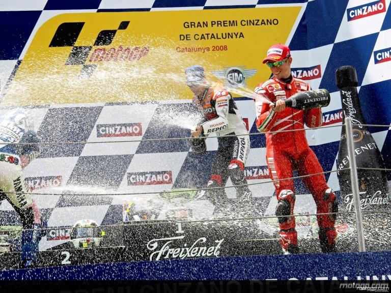 Pedrosa, Rossi and Stoner celebrating the podium at Catalunya