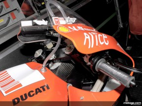 A close shot of the new Ducati Desmosedici GP9 MotoGP prototype