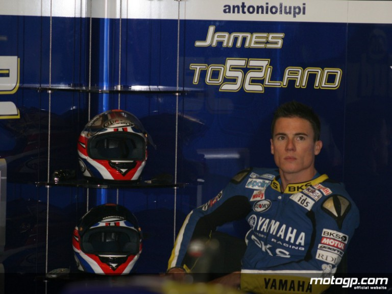 James Toseland in the Tech 3 Yamaha garage