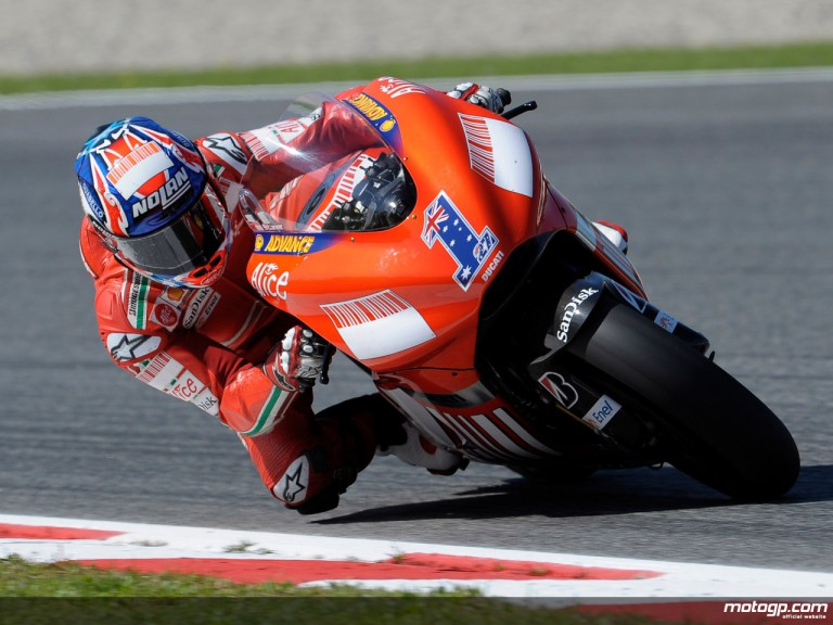 Reigning MotoGP World Champion Casey Stoner on the Ducati Desmosedici GP8