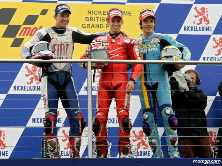 Stoner tops a podium completed by Edwards and Vermeulen in 2007 British GP