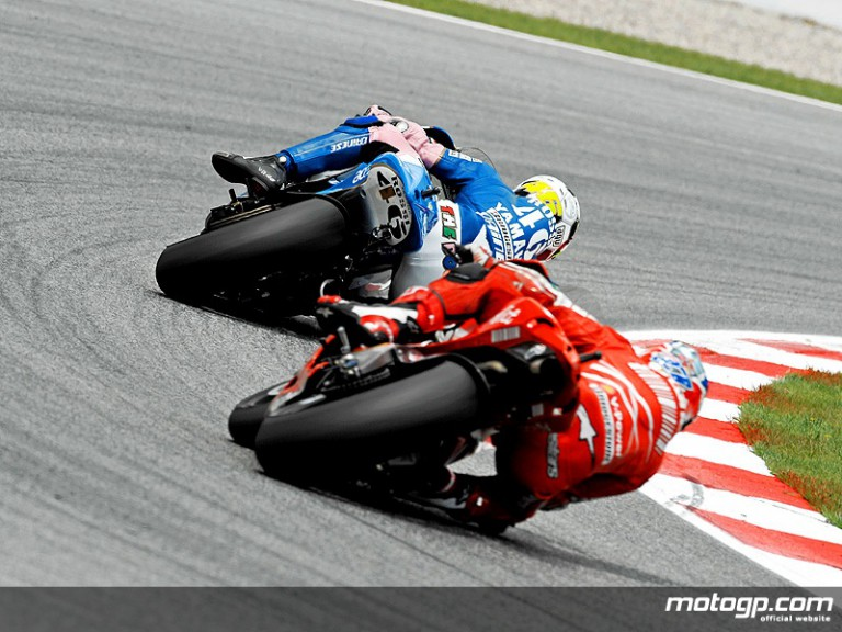 Bridgestone riders Rossi and Stoner in action