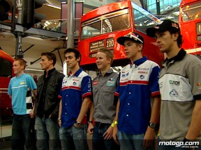 MotoGP riders check out the British Transport Museum