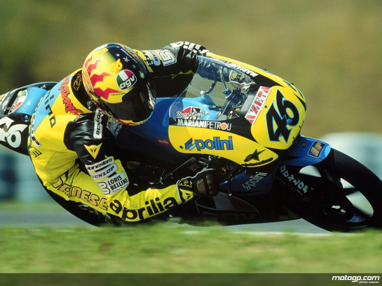 Valentino Rossi riding for Aprilia in the 125cc class in 1996